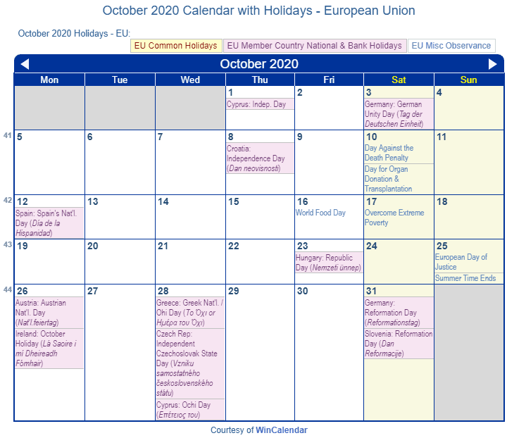 October 2020 Calendar Holidays European Union