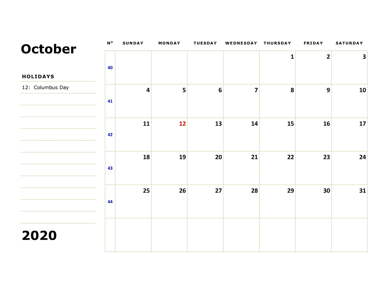 October 2020 Calendar With Festivals and Holidays
