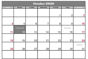 October 2020 Holidays Calendar