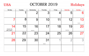 October Holidays 2019 Calendar