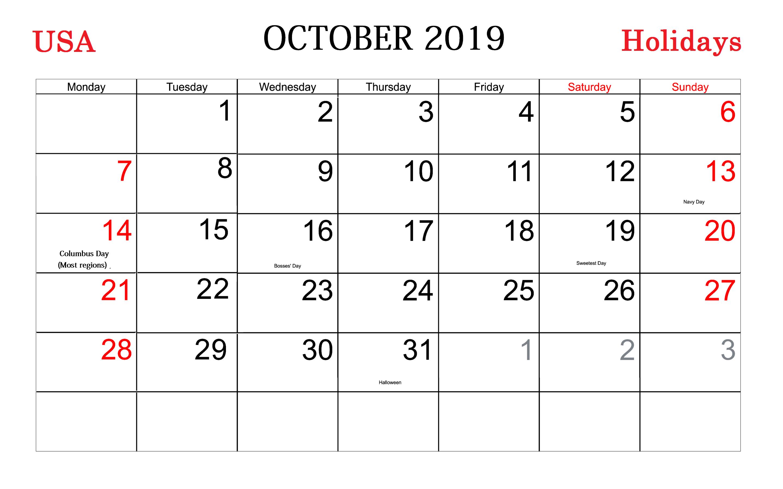 October Holidays 2019 Calendar