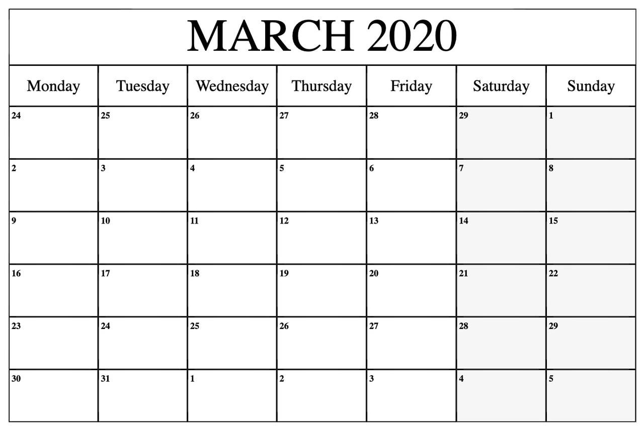 Printable Blank March 2020 Calendar