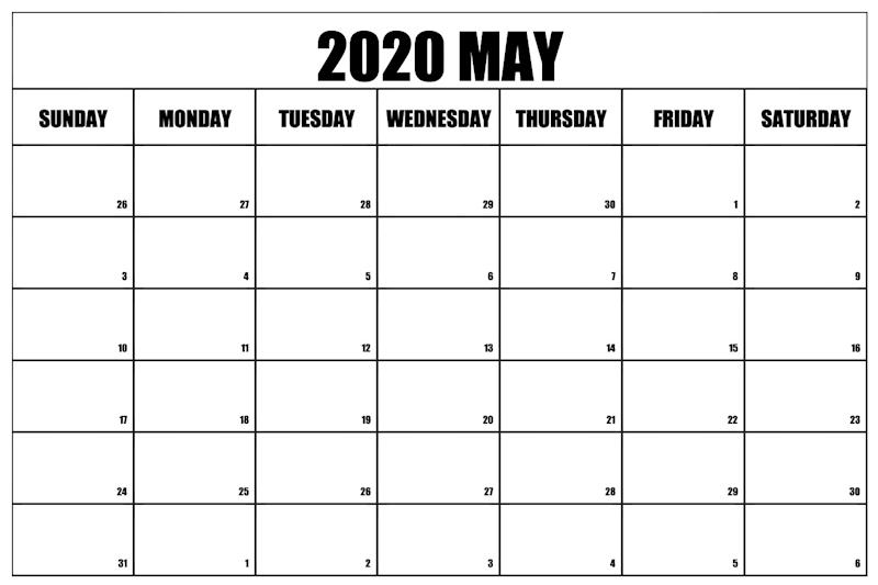 Printable May Calendar 2020