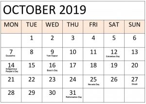 Printable October 2019 Holidays Calendar