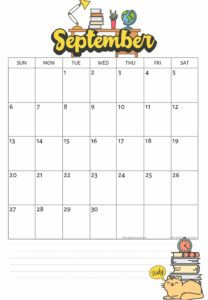 September 2020 Blank Calendar with notes