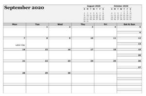 September 2020 Calendar Blank