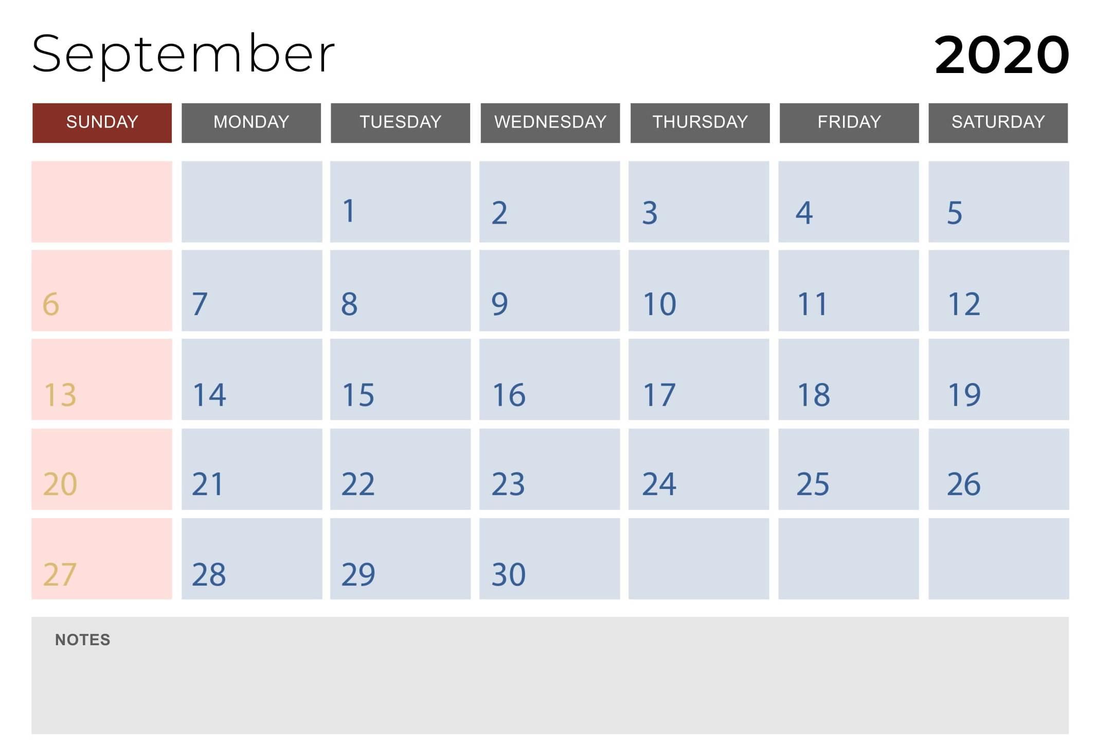 September 2020 Calendar Design