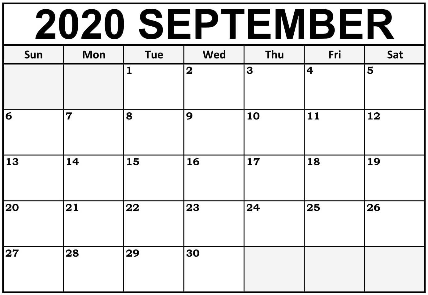 September 2020 Calendar Page
