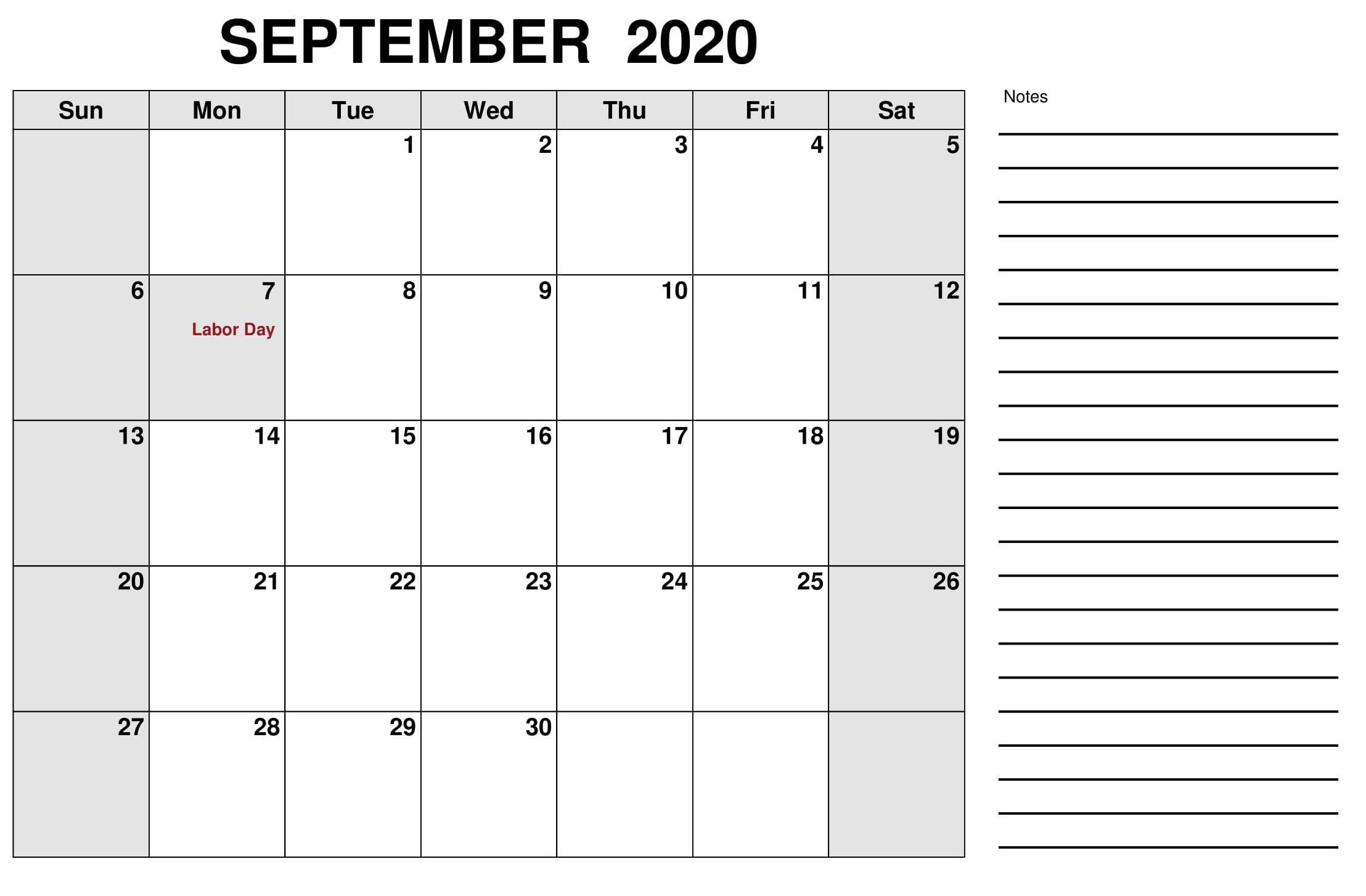 September 2020 Calendar Sheet