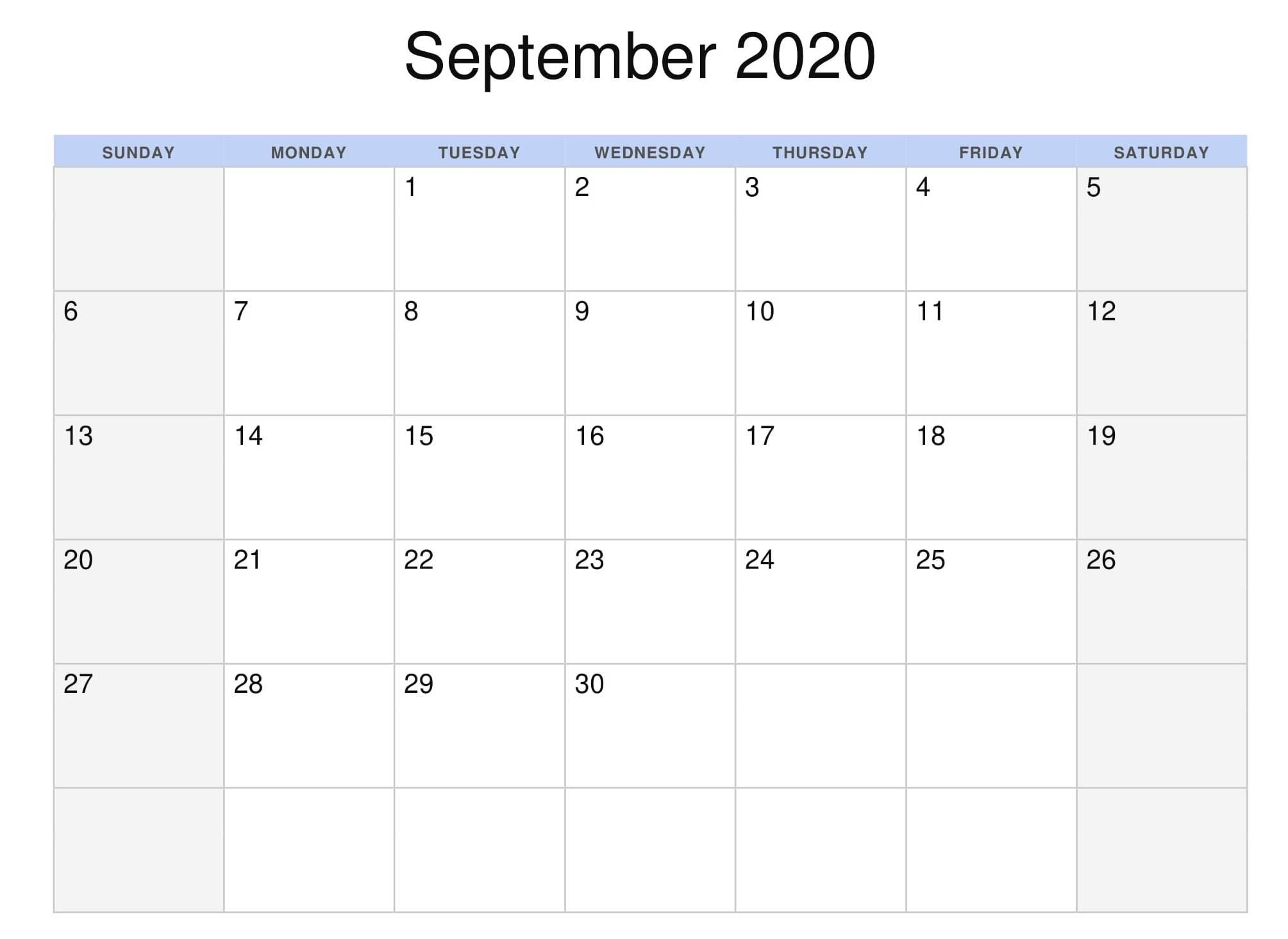 September 2020 Calendar Template