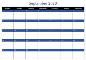 September 2020 Excel Calendar Template