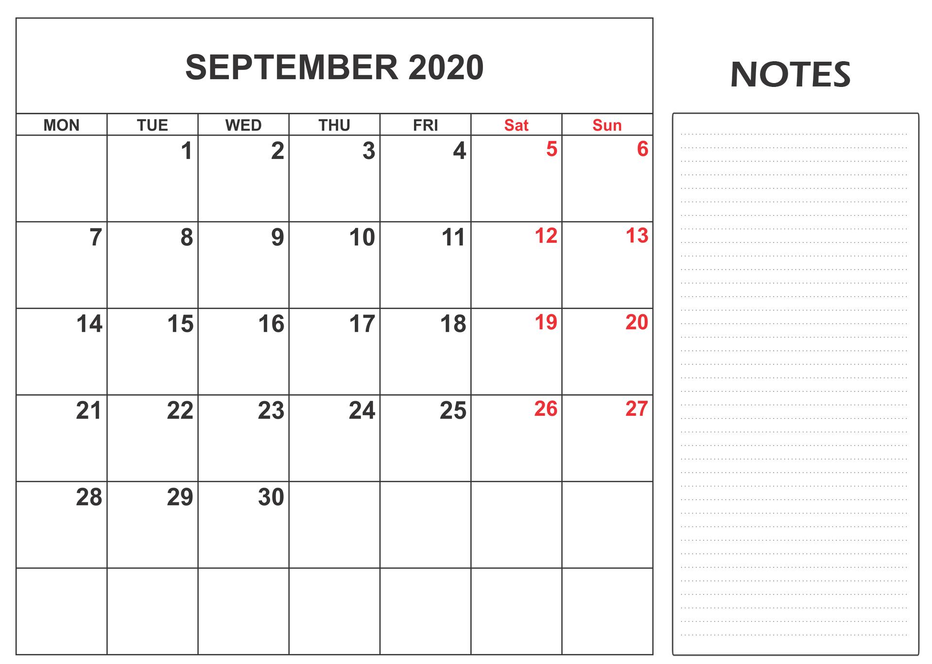 September Calendar 2020 Notes