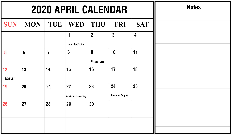 april 2020 calendar notes
