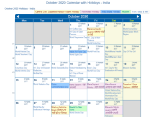 october 2020 calendar kal nirnay