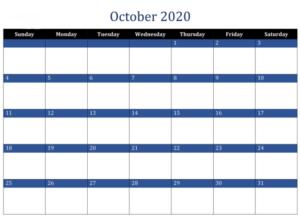 october 2020 calendar svg