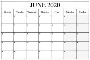 2020 June Calendar
