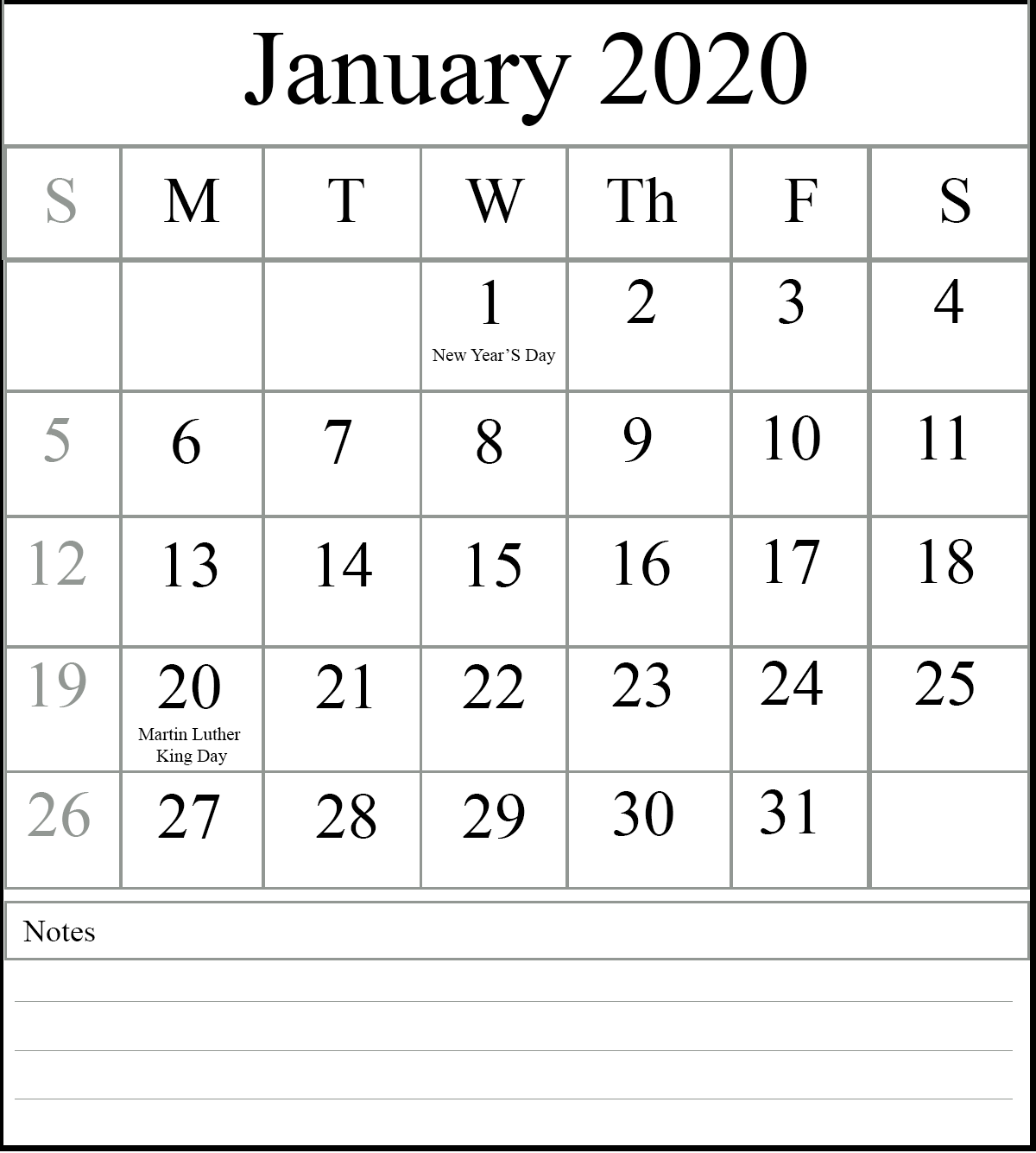 Blank Calendar For January 2020 Notes
