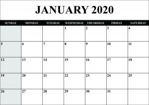 Blank Calendar January 2020 Printable