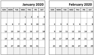 Blank Calendar January February 2020