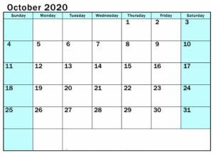 Blank Calendar October 2020 Template