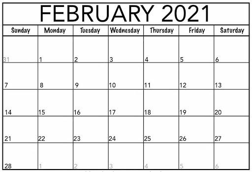 Blank February 2021 Calendar Printable Sheet
