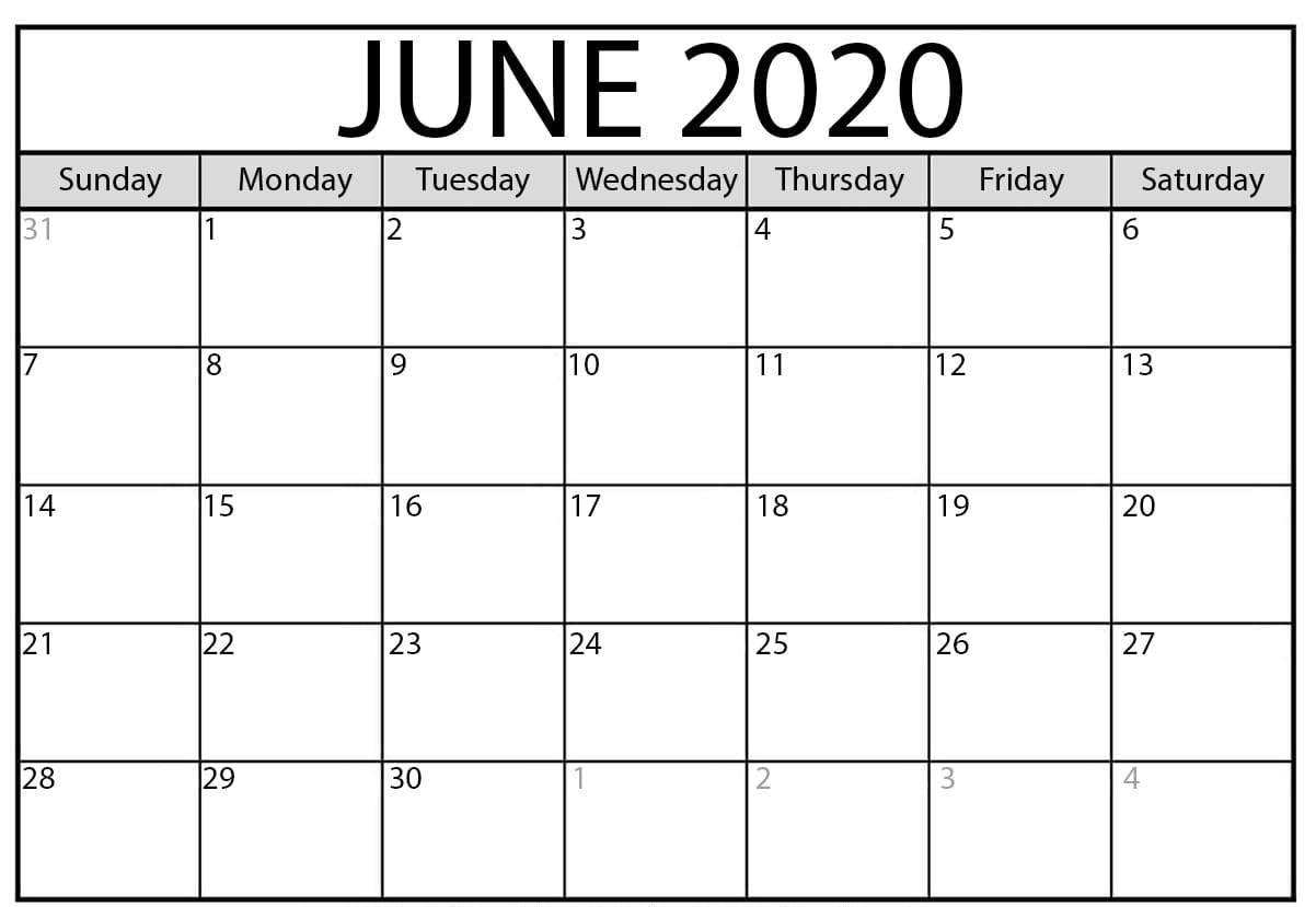 Blank June 2020 Calendar Printable