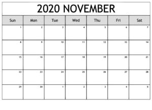 Blank November 2020 Calendar Editable