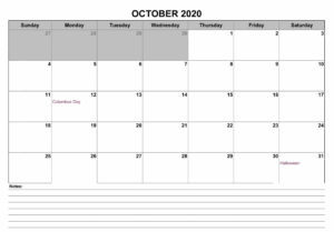 Calendar 2020 October With Notes