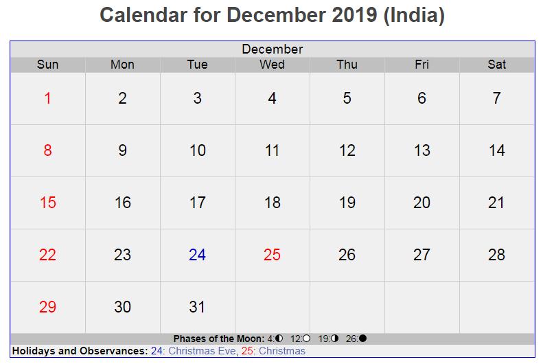 Calendar For December 2019 India