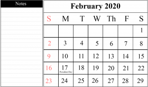 Calendar For February 2020 with Notes