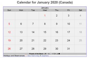 Canada Calendar For January 2020