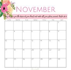 Colorful Cute November 2019 Calendar Images