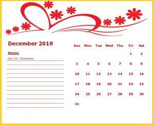Cute December 2019 Floral Template