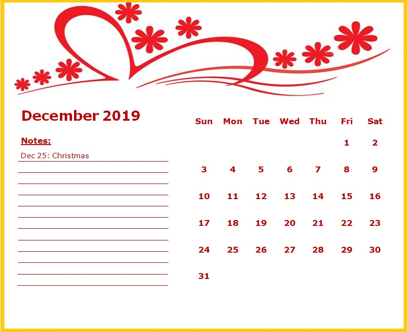 Cute December 2019 Floral Template