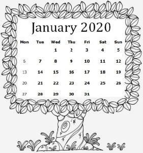 Cute January 2020 Calendar For Students
