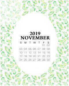 Cute November 2019 Floral Calendar