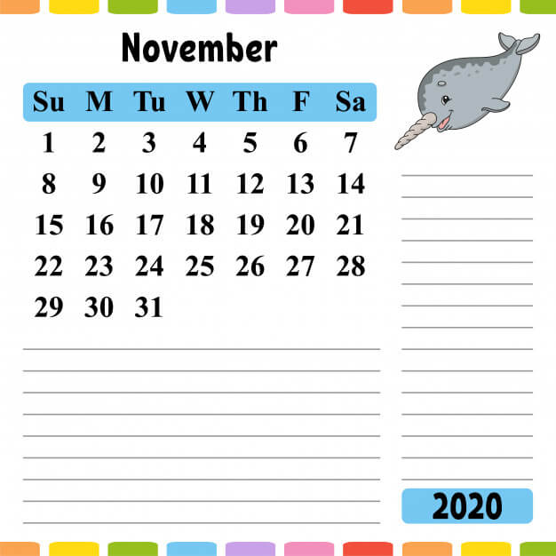 Cute November 2020 Calendar For Kids