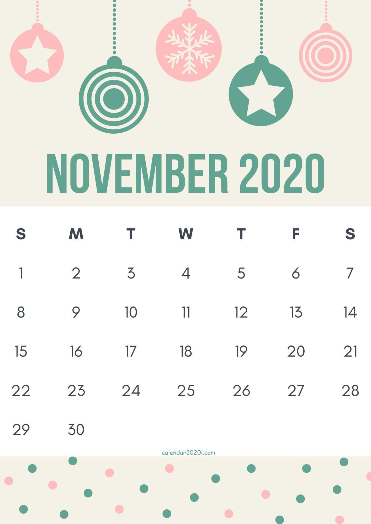 Cute November 2020 Calendar Design