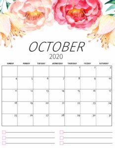 Cute Printable October 2020 Calendar
