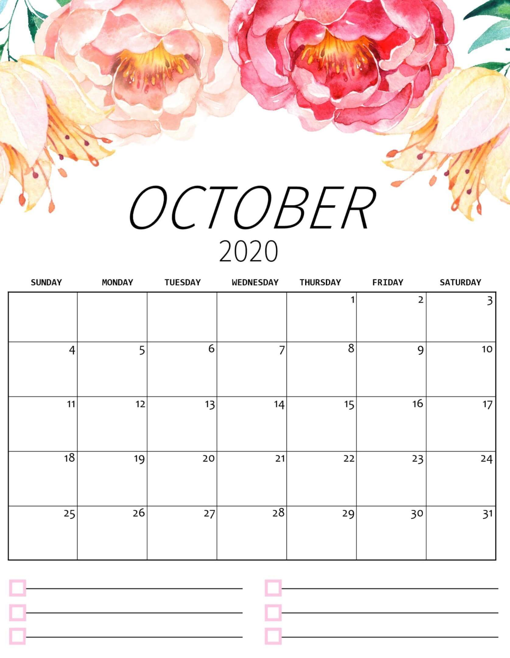 Cute Printable October 2020 Calendar
