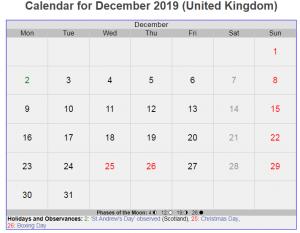 December 2019 Calendar UK