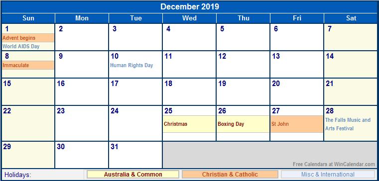 December 2019 Holidays