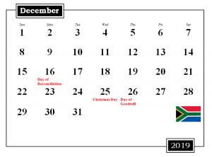 December 2019 South Africa Holidays Calendar
