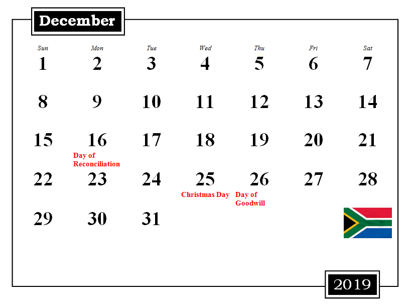 December 2019 South Africa Holidays Calendar
