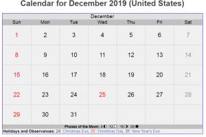 December 2019 US Holidays Calendar