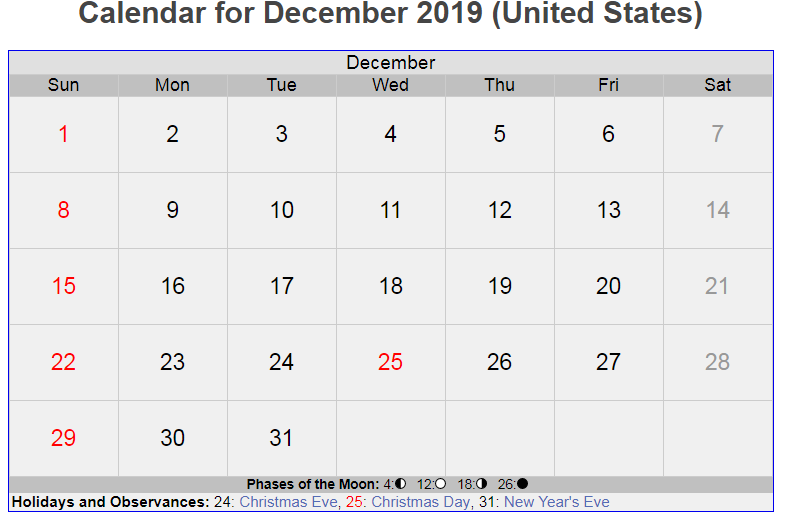 December 2019 US Holidays Calendar