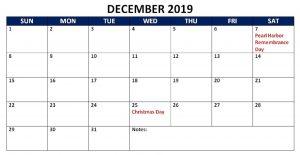 December Holidays 2019 Calendar'