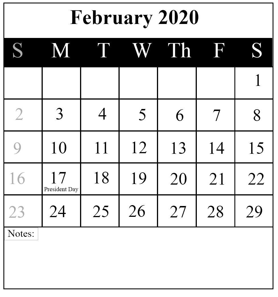 February 2020 Fillable Calendar