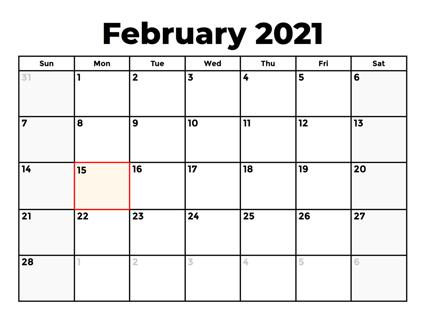 February 2021 Calendar Download