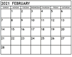 February 2021 Calendar Printable
